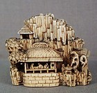 19c netsuke LANDSCAPE Jo & Uba manner of Kagetoshi