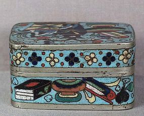 19c Chinese scholar CLOISONNE & PAKTONG BOX