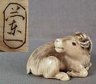 19c netsuke resting DEER by RANICHI