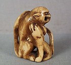 18c netsuke TIGER with young