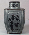 18c Chinese pewter TEA CADDY inlaid scholar objects