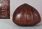 18c netsuke CHESTNUT with worm by MINKO