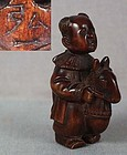 19c netsuke BOY with HOBBY HORSE by HIROICHI