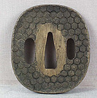 19c Japanese sword TSUBA honeycomb