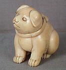 Very fat 18c Kyoto netsuke PUPPY