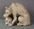 19c ivory netsuke WOLF with SKULL