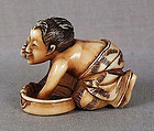 19c shunga netsuke woman washing herself ex Royal