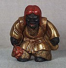 19c lacquer netsuke LION DANCER