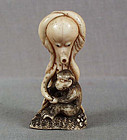 19c netsuke MONKEY & OCTOPUS ex Royal Coll