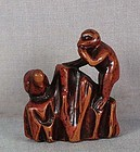 Early 19c Negoro netsuke MONKEY & bird