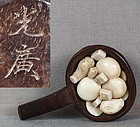 19c netsuke VEGETABLES in pan by MITSUHIRO