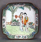 19c Chinese Canton Enamel DISH ladies in garden