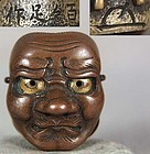 19c ojime netsuke slide O-BESHIMI mask by DODOJO