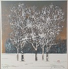 Joichi HOSHI print CLUMP OF TREES IN WINTER 1976