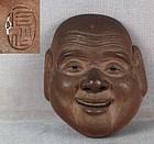 19c netsuke mask HOTEI by SEKISEN
