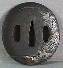 18/19c Japanese sword TSUBA HERON by stream