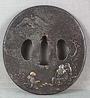18/19c Japanese sword tsuba SCHOLAR & attendants