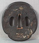 18/19c Japanese sword TSUBA FISHERMAN & temple