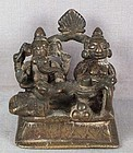 18c Indian bronze SHIVA SHRINE Parvati Ganesha Nandi Naga