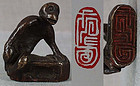 19c Chinese bronze scholar SEAL MONKEY