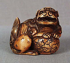 Early 19c netsuke SHISHI with cloth ball