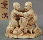 19c netsuke BLIND MEN FIGHTING by RYOJI