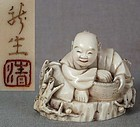 19c netsuke HANASAKA JIJII by RYUSEI