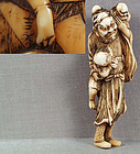 Early 19c netsuke SHOKI & 2 ONI by YOSHINAGA ex Davies