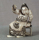 19c netsuke seated COURTIER ex Royal Coll