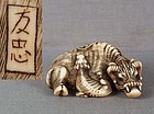 18c netsuke WATER BUFFALO & CALF by TOMOTADA