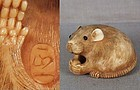 19c netsuke RAT with nut by MASAKAZU