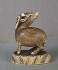 19c netsuke baying deer STAG