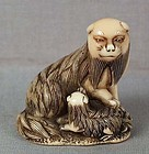 18c netsuke PEKINESE DOG with puppy