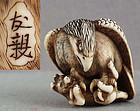 18c netsuke EAGLE & DOG by TOMOCHIKA