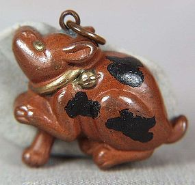 19c Japanese mixed metal pendant PUPPY / COMPASS