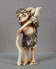 Early 19c netsuke Chokwaro SENNIN with staff