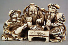 18c netsuke 3 HEROES OF HAN Dynasty drinking