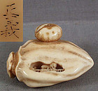 19c netsuke PERSIMMON with landscape by MASAYOSHI