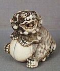 18c netsuke SHISHI with ball