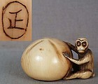 19c netsuke MONKEY with persimmon by MASA