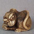 18c netsuke TIGER and bamboo