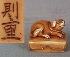19c netsuke DOG on box by NORISHIGE
