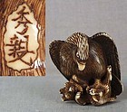18c netsuke EAGLE & FOX by HIDECHIKA