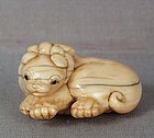 18c netsuke resting PUPPY with collar