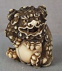 18c Kyoto school netsuke SHISHI with ball ex MFA