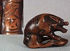 18c netsuke WOLF with turtle by TOMOTADA