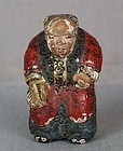 19c netsuke ACTOR with fan