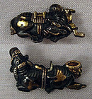 Pair 19c Japanese sword MENUKI BOY & BUFFALOS