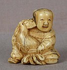 19c netsuke BOY with ROOSTER