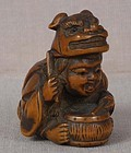 19c netsuke BOY shishi costume & drum ex Royal
